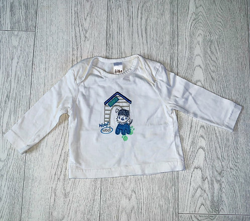 🦊Baby off white long sleeve top. 3-6m