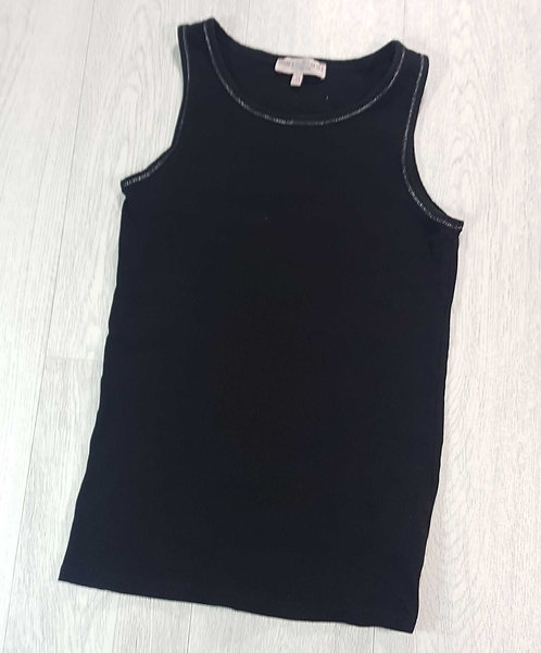 M&S Indigo black ribbed vest with silver trim. 14yrs