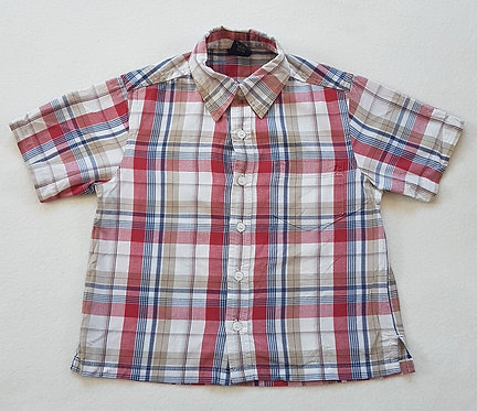 NEXT. Beige and red checkered short sleeve shirt. Size 18-24m