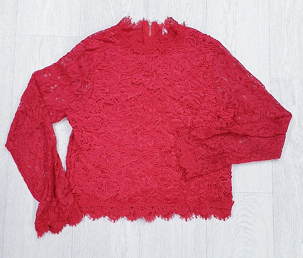 Koko red lace crop top. Size L