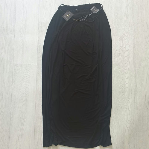 🧡ATMOSPHERE black maxi skirt with belt. Size 8 NWT