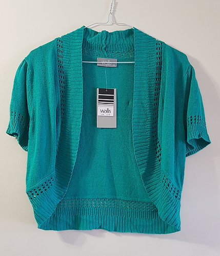 Wallis. Green cropped cardigan. Size M. Eur 42. New with tags.