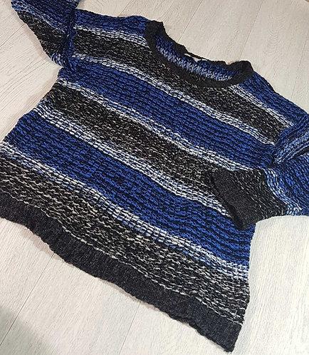 ◾Peacocks blue/black knit sweater. Size Large