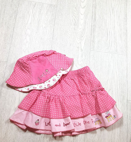 🌈Mothercare girls pink Lottie and bear skirt and hat size 6-9 months