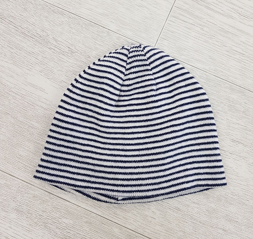 Next baby navy and white striped hat size 0-3 months