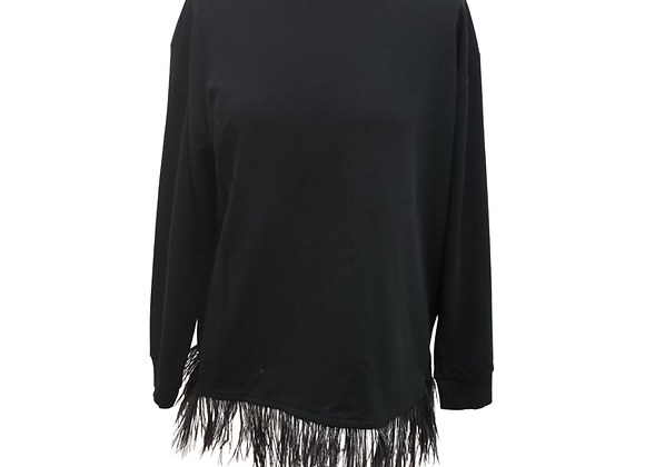 Black BooHoo black lightweight sweater with feather tassels. Size M