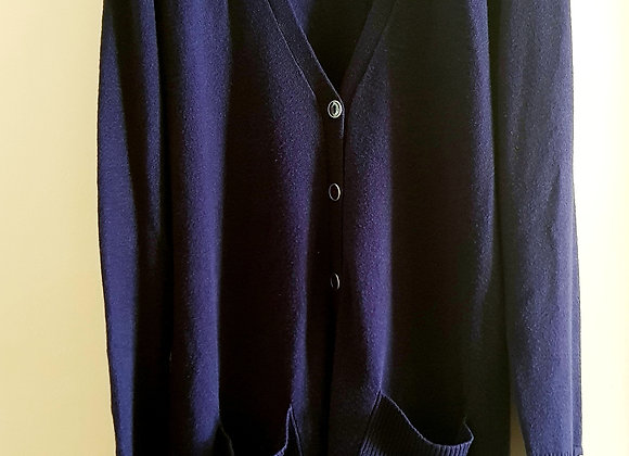 BHS. Long navy cardigan with button cuffs. Size 16.