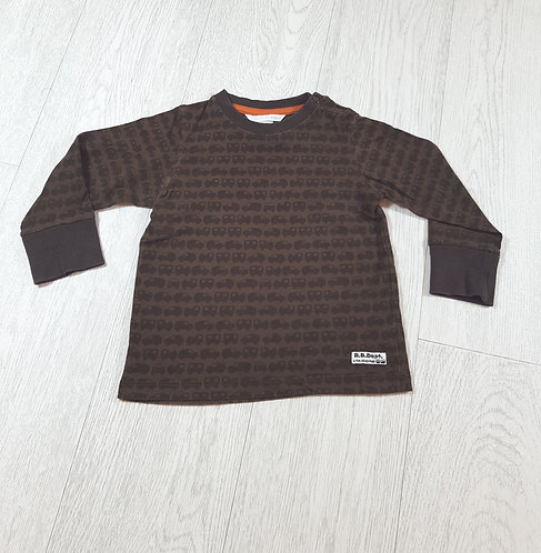 🌈H&M khaki green and brown car long sleeved top size 12-18 months