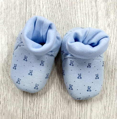 Mothercare blue teddy bear booties 3-6m