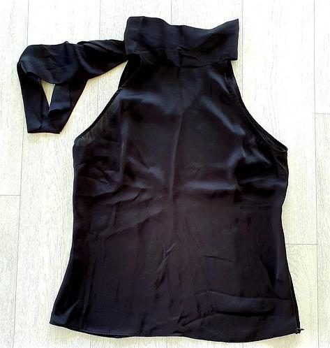 Zara Black halter neck tie back top. Size XL