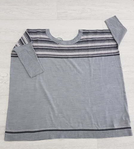🦄South grey and pink striped chest sweater size 12/14 (NWT)