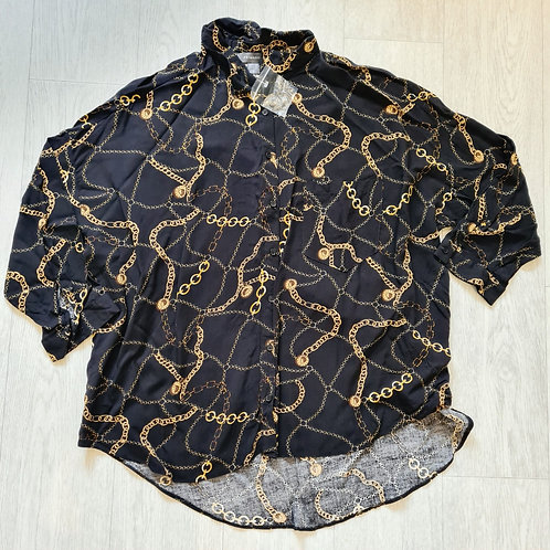 💋Primark black shirt with gold chain print. Size 10
