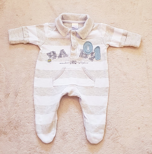NEXT Baby grow with collar and scratch mit cuffs. Blue/grey Early baby 5lbs