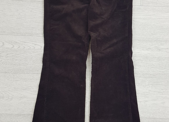 🦄BHS chocolate brown Petite velour trousers with belt size 8