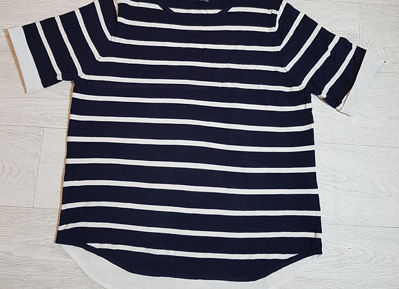🔴Atmosphere blue and white navy stripe with white chiffon back. Size 14