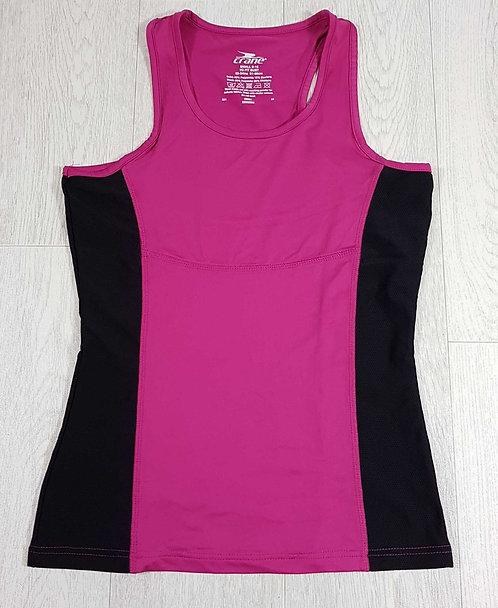 ◾Crane pink/black sports vest. Size 8-10