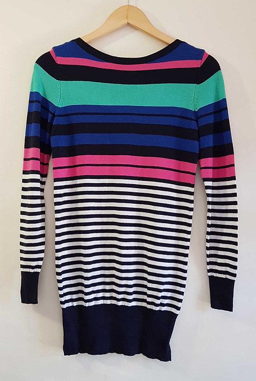 ◾F&F striped knit jumper dress/ long sweater. Size 8