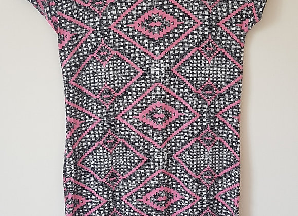 F&F. Black, white and pink patterned dress.
