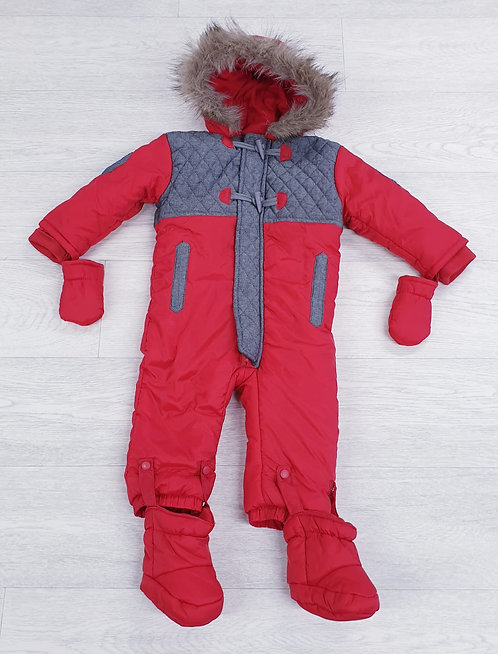 Honour & Pride red snow suit with boots & gloves. 6-12m