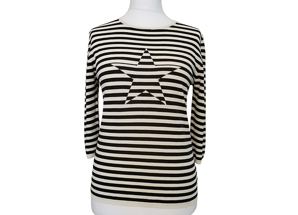 Andre Maurice star black striped sweater top. Suggested size uk 14