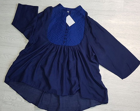 Indian Inc blue smock top. Size M