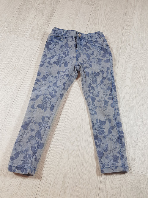 🌈M and Co kids girls floral blue jeans size 3-4yrs