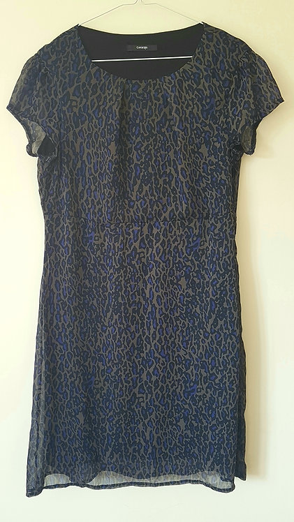 GEORGE. Purple leopard print smart dress. Size 14