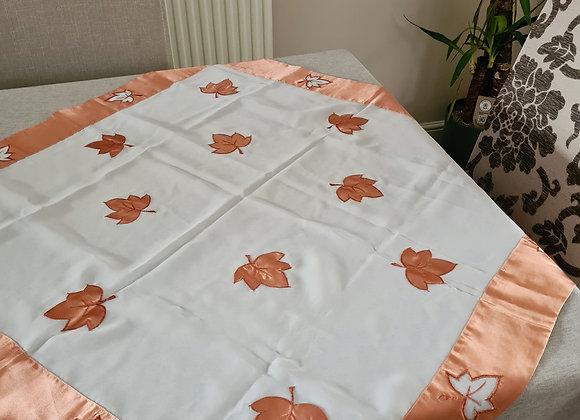 Coral & white table cloth. 78x78cm