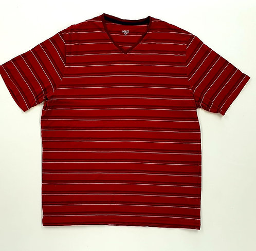💛M&S red striped v-neck T-shirt. Size M