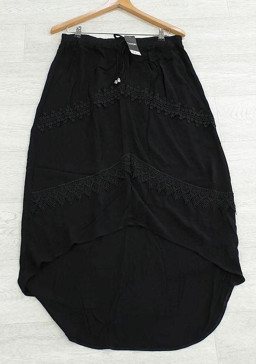 □George black bohemian duel length skirt. Size 14 NWT