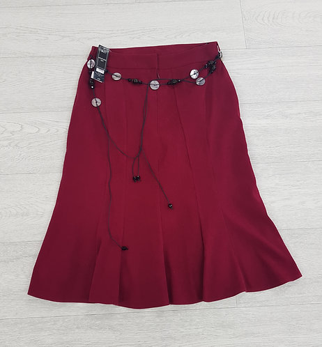 🦄BHS cranberry red velour skirt with belt size 8 (NWT)