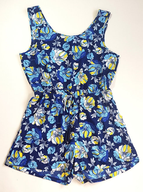 Tu Blue floral playsuit with open back. Size L. NWT