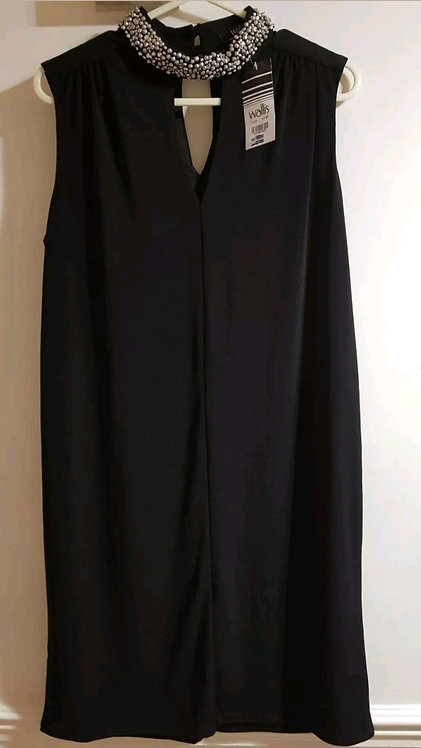 Wallis black dress with chrome diamante detail. New with tags. Size 12.