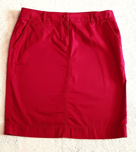Marks and Spencer. Red knee length skirt. 100% cotton. Size 12.
