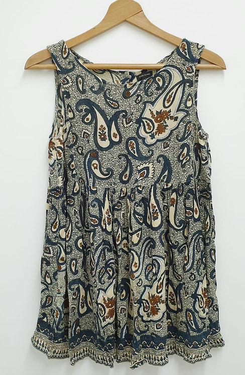 River Island paisley print sleeveless top. Size 8