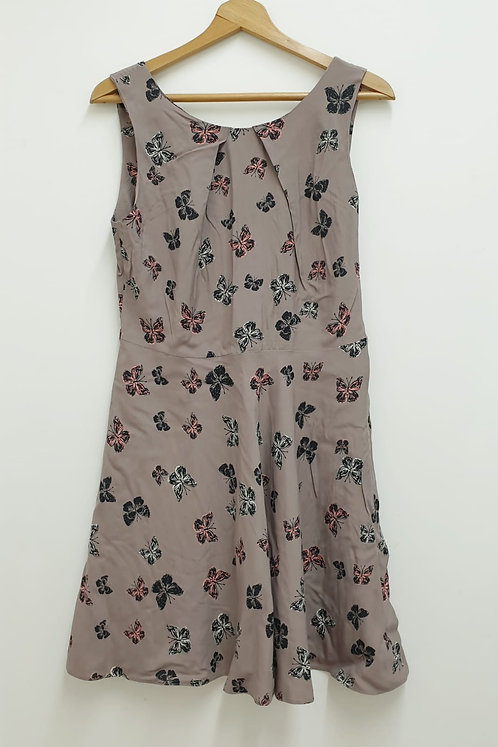 Apricot brown butterfly dress. Uk 14