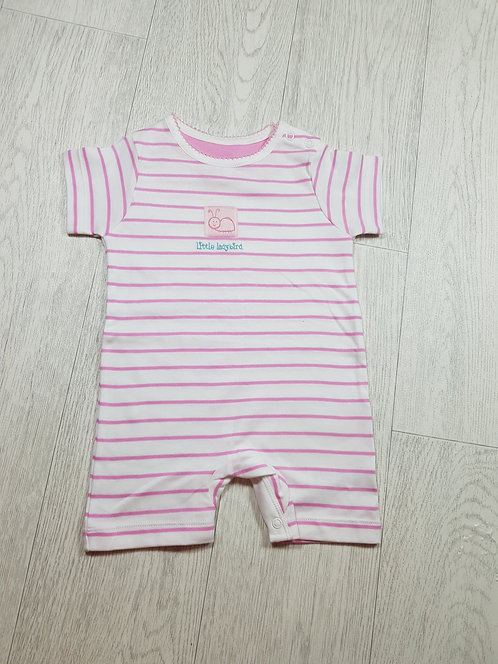🌈Mothercare pink striped girls short-sleeved onesie size 3-6 months