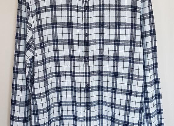 BURTON. Navy and white checkered shirt. Size M.