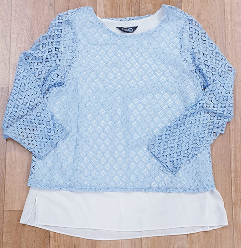 Blue Chameleon blue lace double layered top.