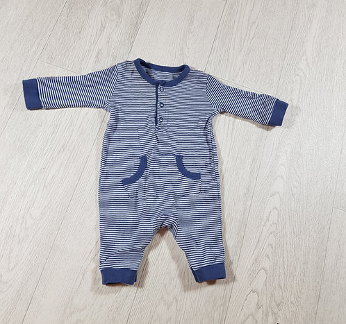 🐠George boys navy and white stripey sleepsuit with pocket sized 0-3 months