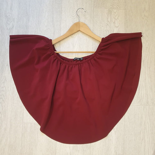 🏵Boohoo burgundy red slash neck two layerd cropped top. Size 16