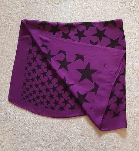 Large purple and black star scarf/shawl. Square shape.