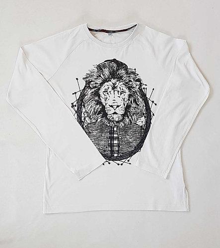 ◾M&S white Lion print long sleeve top. 13-14yrs