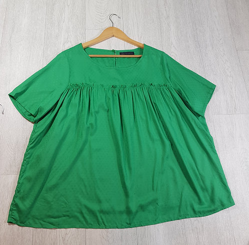 🚩M&S green frilly short sleeve blouse size 16