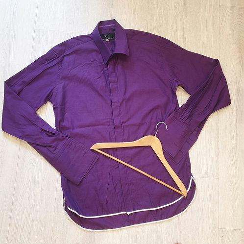 """👔OZWALD BOATENG Purple double cuff shirt. 16½"""" neck"""
