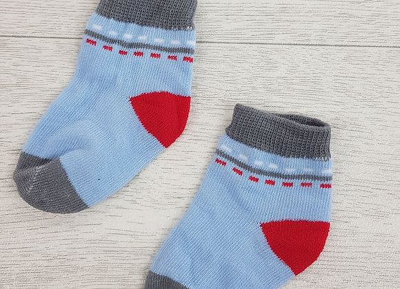 💠Baby blue red and grey socks size 3 / 6 months