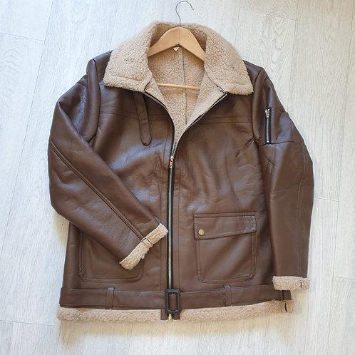 🏵Brown faux leather jacket. Size L