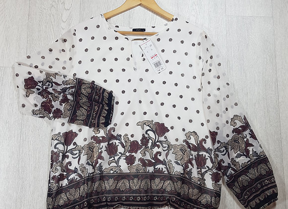 🦄F&F chiffon white and beige flower blouse size 18 (NWT)