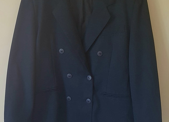 ESSENTIALS. Navy blazer with padded shoulders. 100% Nylon. Size 18.