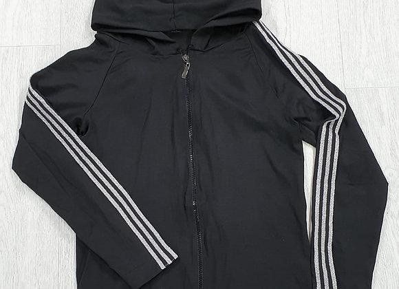 Black hoody with silver stripe sleeves